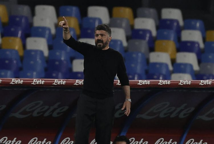 epa09224207 Napoli's head coach Gennaro Gattuso reacts  during the Italian Serie A  soccer  match SSC Napoli vs Hellas Verona at the Diego Armando Maradona stadium in Naples, Italy, 23 May 2021.  EPA-EFE/CESARE ABBATE